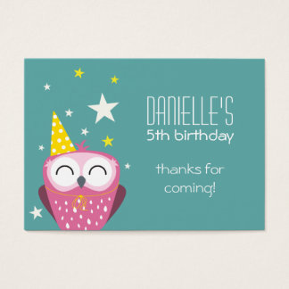 Cute Pink Owl Birthday Thank You Party Favours Business Card