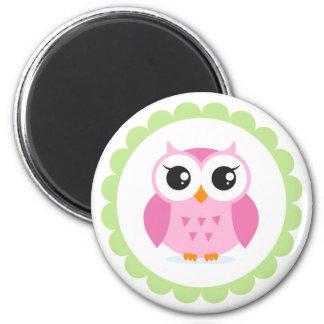 Cute pink owl cartoon inside green border 6 cm round magnet