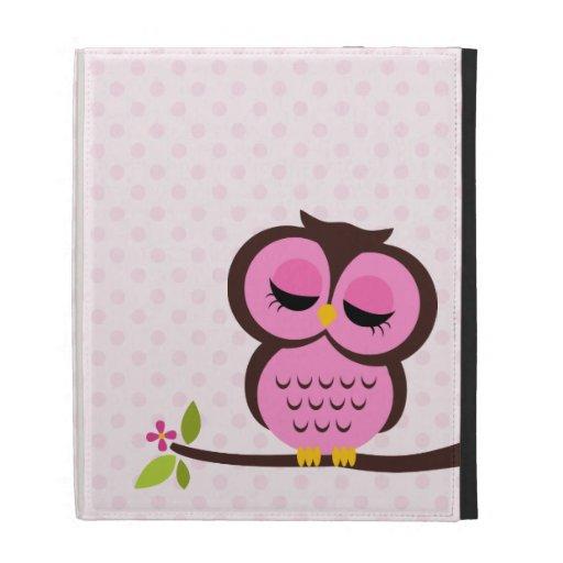 Cute Pink Owl iPad Folio Cover
