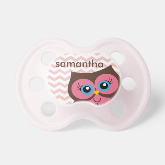 Cute Pink Owl Chevron Zigzag Monogram Pacifier
