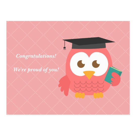 Cute Pink Owl for Graduation Postcard