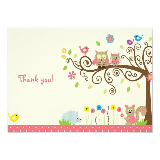 Cute Pink Owl Girl Baby Shower Thank You