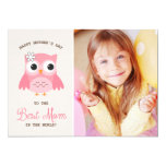 Cute Pink Owl | Happy Mother's Day Card 13 Cm X 18 Cm Invitation Card