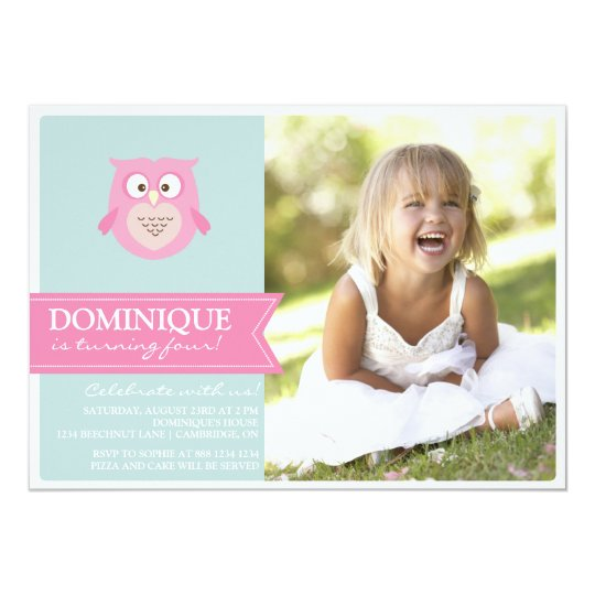Cute Pink Owl Kids Photo Birthday Party Invitation