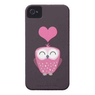 Cute Pink Owl & Love Heart Blackberry Bold Case