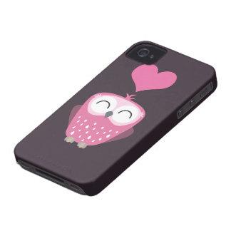 Cute Pink Owl & Love Heart Case-Mate iPhone 4 Case
