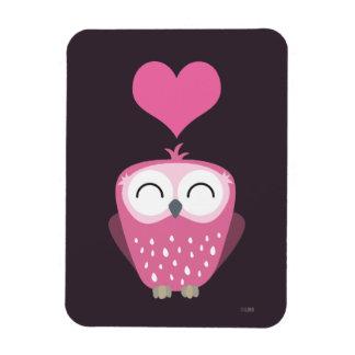 Cute Pink Owl & Love Heart Premium Magnet