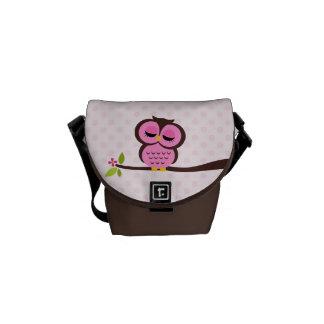 Cute Pink Owl Messenger Bag