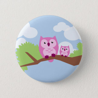 Cute Pink Owl Mom and Baby 6 Cm Round Badge