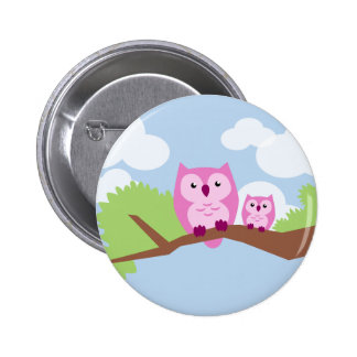 Cute Pink Owl Mom and Baby Button