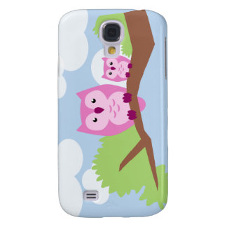 Cute Pink Owl Mom and Baby Galaxy S4 Case