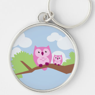 Cute Pink Owl Mom and Baby Key Ring