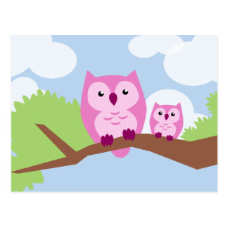 Cute Pink Owl Mom and Baby Postcard