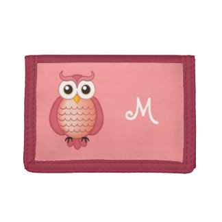 Cute Pink Owl Monogram Wallet