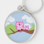 Cute Pink Owl Mum and Baby Silver-Colored Round Key Ring