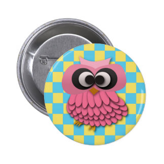Cute Pink Owl on Blue and Yellow Checkered Button