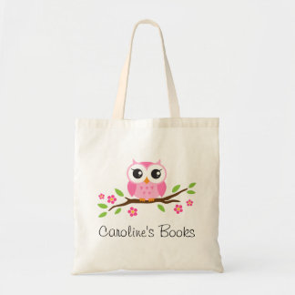 Cute pink owl on branch personalized library book