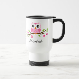 Cute, pink owl on branch personalized name stainless steel travel mug