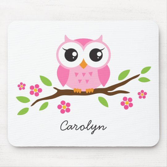 Cute pink owl on floral branch personalised name