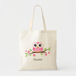 Cute pink owl on floral branch personalized name