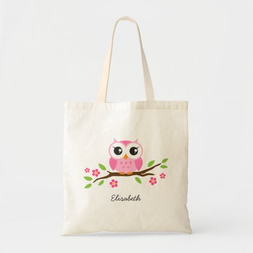 Cute pink owl on floral branch personalized name bags