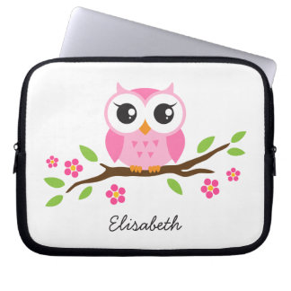 Cute pink owl on floral branch personalized name laptop sleeve