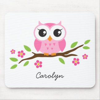 Cute pink owl on floral branch personalized name mouse mat