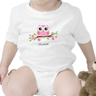 Cute pink owl on floral branch personalized name creeper