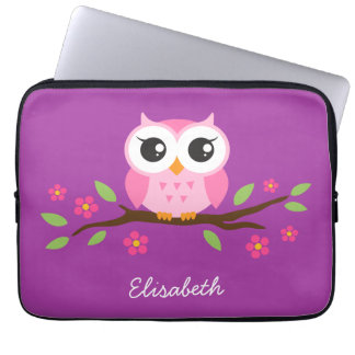 Cute pink owl on floral branch purple custom name laptop sleeve