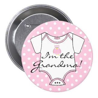 Cute Pink Owl on Pink White Dots I'm The Grandma 7.5 Cm Round Badge