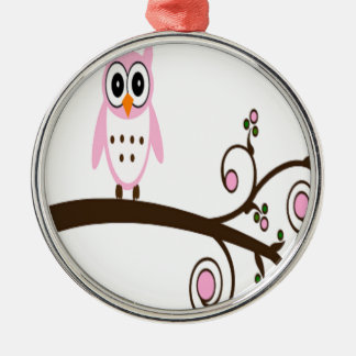 Cute Pink Owl On Tree Branch Christmas Ornament