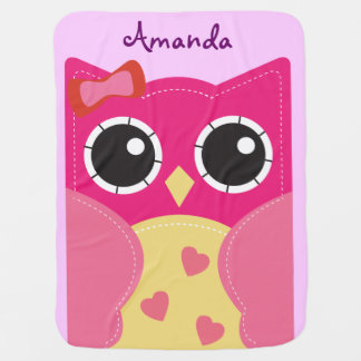 Cute Pink Owl Personalized Baby Blanket