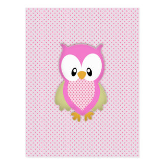 Cute pink owl polka dots pink pattern image print postcards