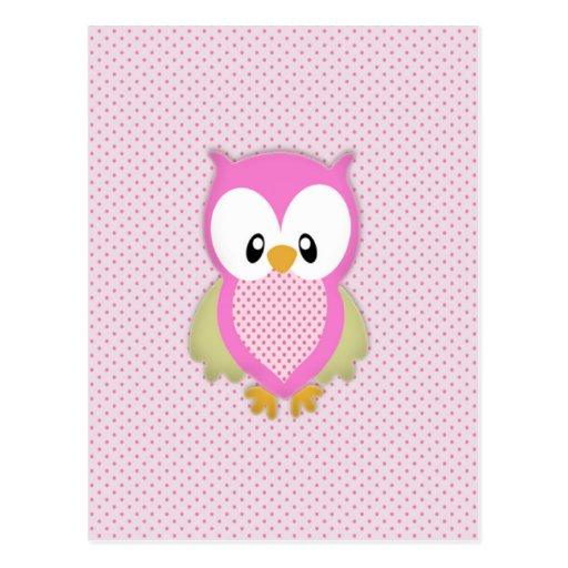Cute pink owl polka dots pink pattern image print postcards