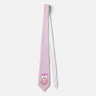 Cute pink owl polka dots pink pattern image print tie