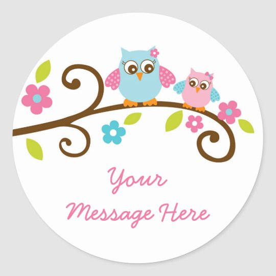 Cute Pink Owl Stickers