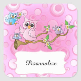 Cute Pink Owl Theme Square Stickers