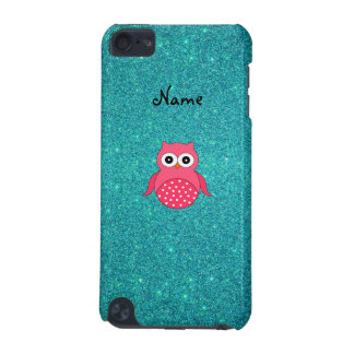 Cute pink owl turquoise glitter iPod touch 5G covers