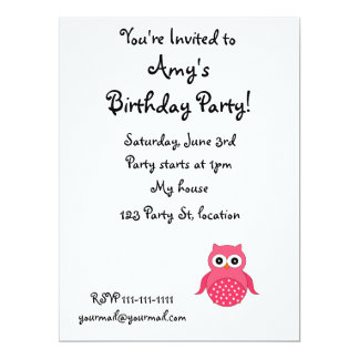 "Cute pink owl white polka dots 6.5"" x 8.75"" invitation card"
