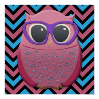 Cute Pink Owl with Glasses on Chevron Poster