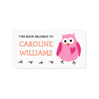Cute pink owl with heart girls bookplate book address label
