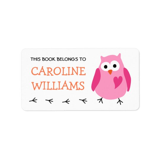 Cute pink owl with heart girls bookplate book label