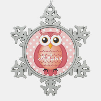 Cute Pink Owl with Name Snowflake Pewter Christmas Ornament