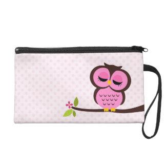 Cute Pink Owl Wristlets