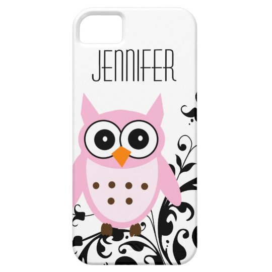 Cute Pink Owl, Your Name,  iPhone 5 Case