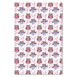 Cute Pink Owls Pattern Tissue Paper