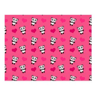 Cute pink panda hearts pattern postcard