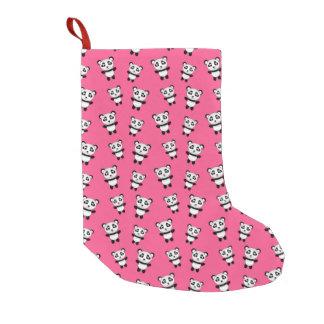 Cute pink panda pattern small christmas stocking