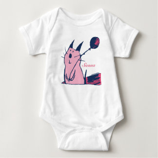 Cute Pink Party Cat Baby Tee