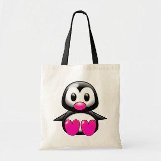 Cute Pink Penguin Canvas Bags